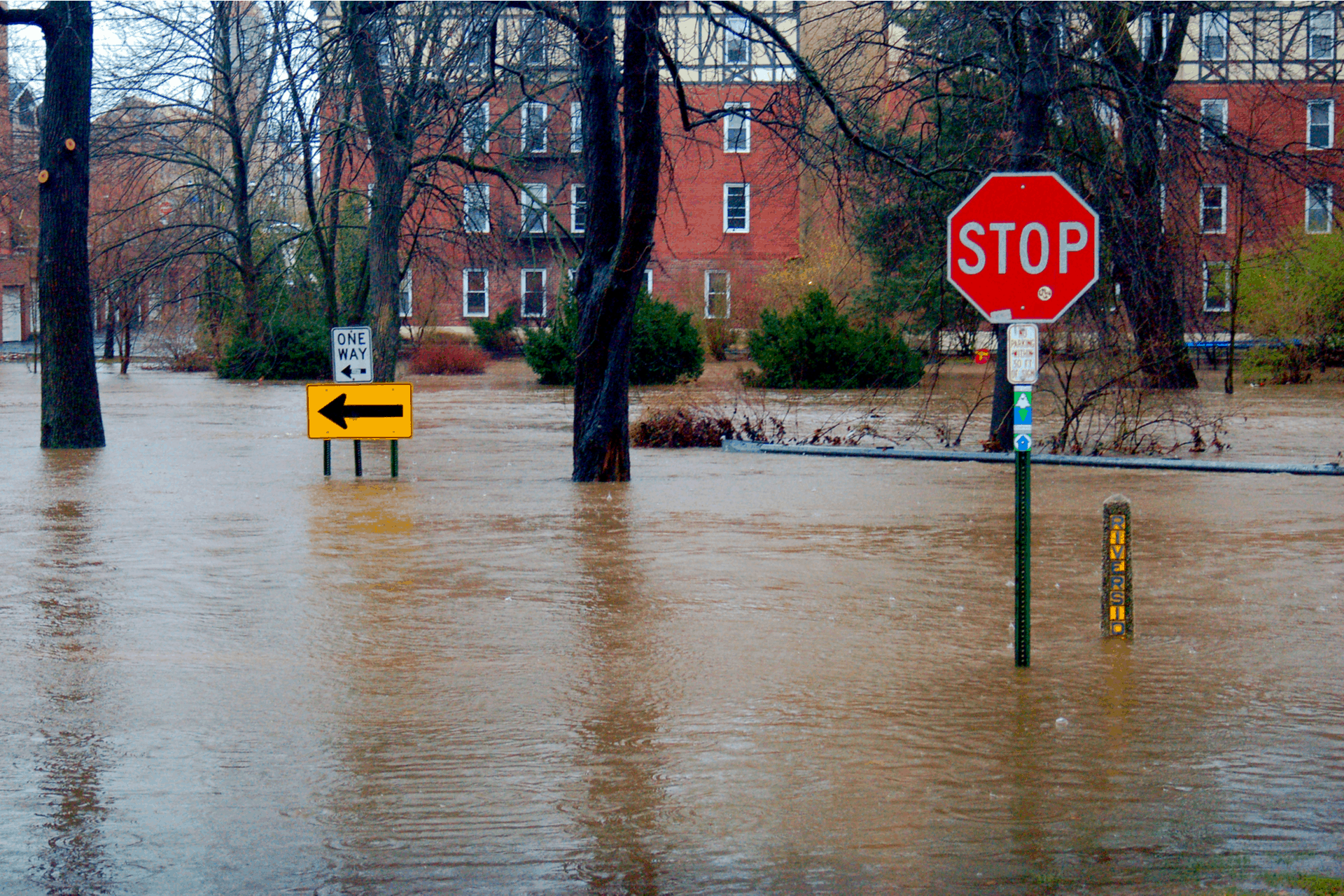 Cranford, NJ, USA April 15 The suburban town of Cranford, New Jersey in inundated with severe flooding following heavy rains